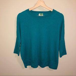 Anthropologie Teal Dolman Wool Blend Sweater| M